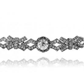 204. Platynowa bransoletka z diamentami w stylu Art Deco