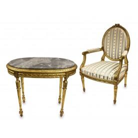 Fotel i stolik owalny w stylu Ludwika XVI, Europa środkowa, ost. ćw. XIX w.
