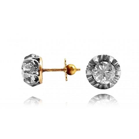582. Kolczyki z diamentami wykonane ze złota 0.750