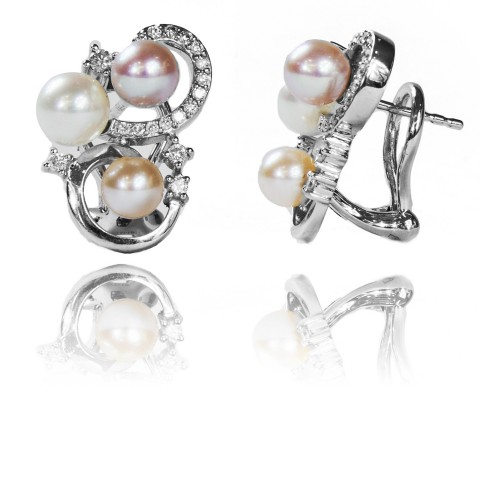 Kolczyki z perłami oraz brylantami wykonane ze złota