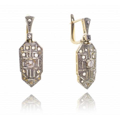 575. Kolczyki z diamentami wykonane ze złota 0.750
