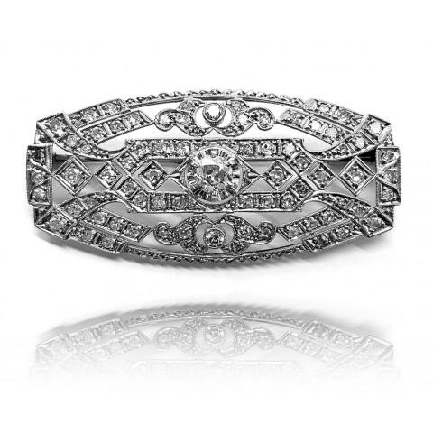 569. Brosza z diamentami wykonana w platynie i złocie 0.750