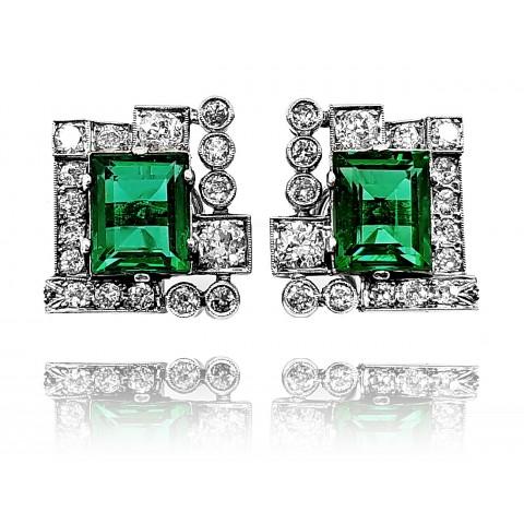 Kolczyki w stylu Art Deco z diamentami wykonane ze złota 0.750