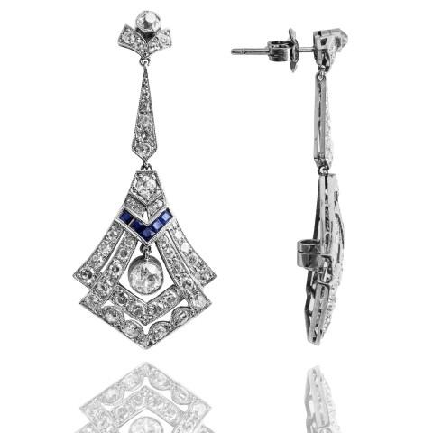 Platynowe kolczyki w stylu Art Deco z szafirami i diamentami