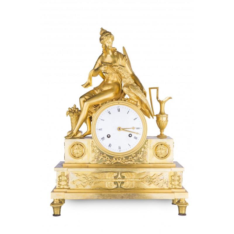 Zegar kominkowy ze złoconego brązu, koniec XIX wieku, Francja