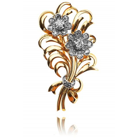 Dawna brosza w formie kwiatu z diamentami