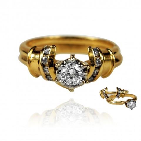 Składany pierścionek z brylantami wykonany ze złota