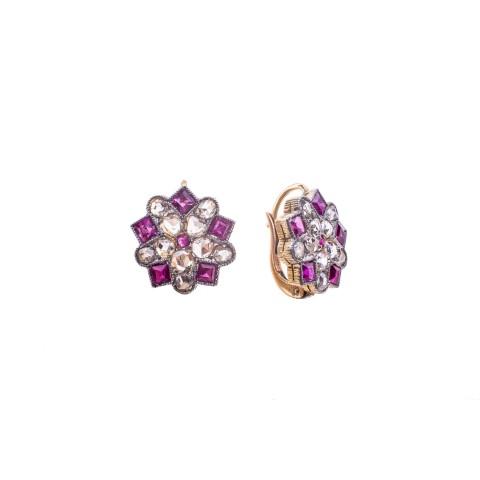 Kolczyki z diamentami wykonane w złocie pr. 0.750 oraz platynie