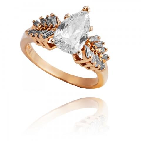 Pierścionek z diamentem w kształcie łezki ~1.30ct