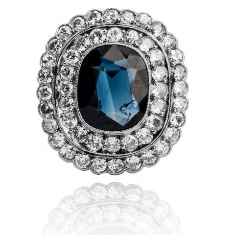 Pierścionek z diamentami oraz szafirem ~3.60ct wykonany z platyny