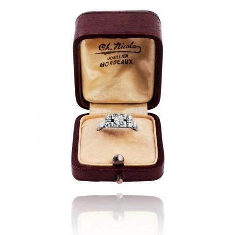 1469. Dawny pierścionek ART DECO z diamentem ~0.40ct, ok 1930