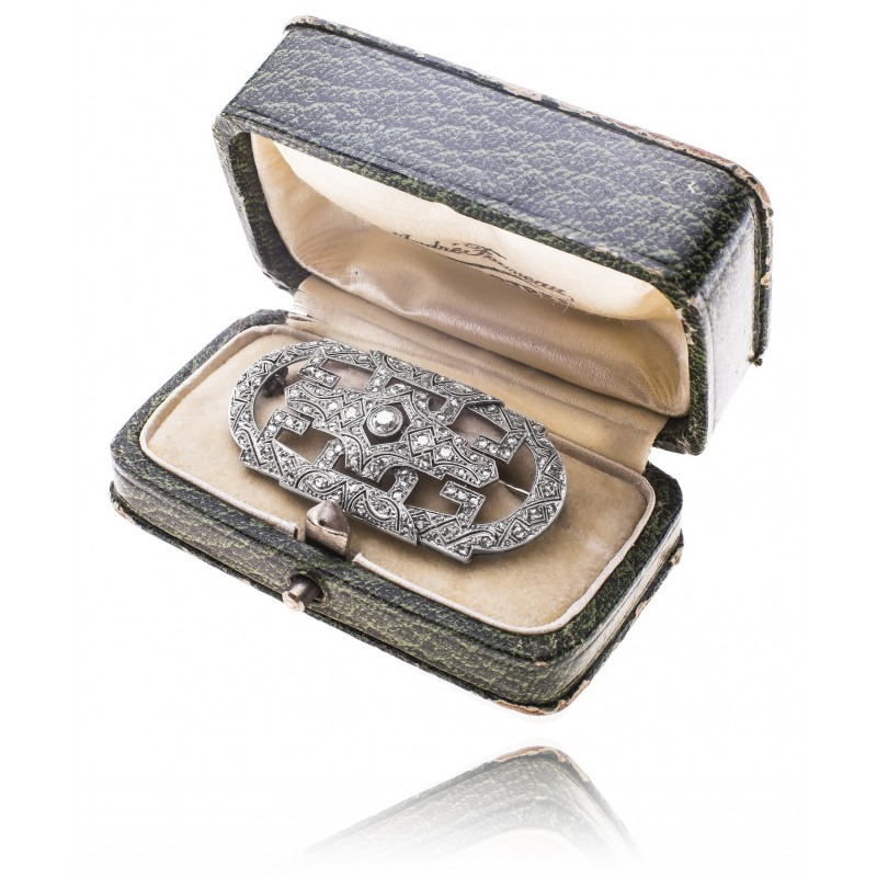 523. Brosza z diamentami wykonana w złocie 0.750