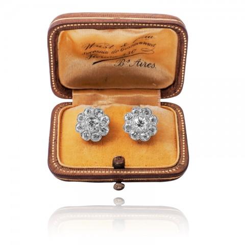 Dawne kolczyki z diamentami ~ 3.10ct wykonane ze złota pr. 0.750 plus platyny