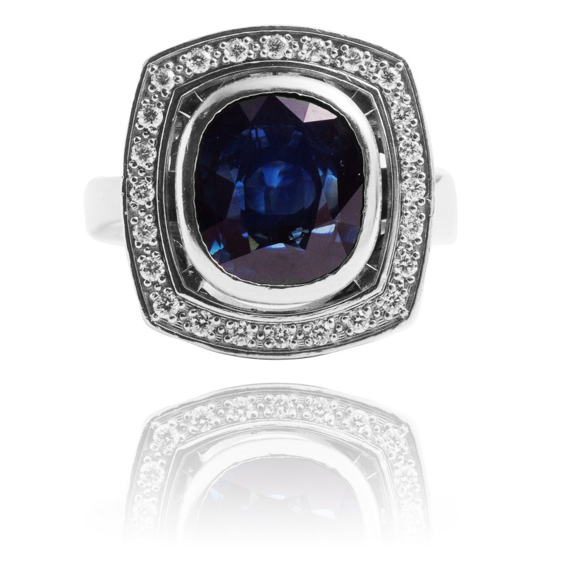 Złoty pierścionek z diamentami i szafirem ~3.00ct
