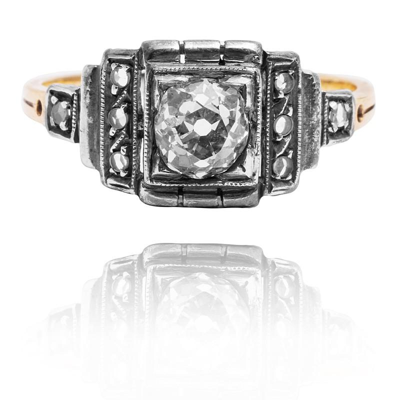 Dawny pierścionek Art Deco - POLSKA ok. 1930r