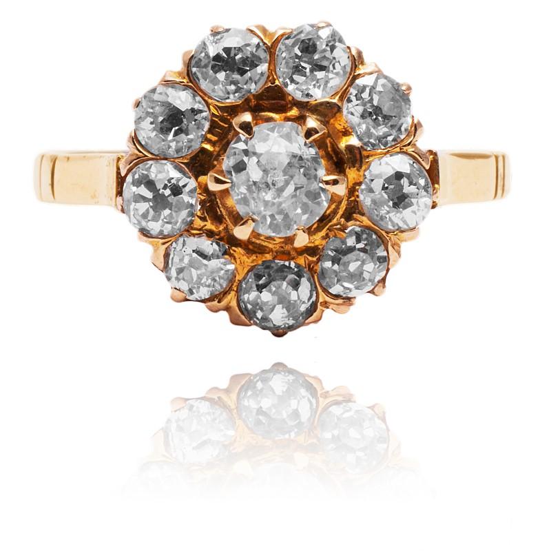 Dawny pierścionek z diamentami 0.85ct wykonany ze złota wysokiej próby 18K