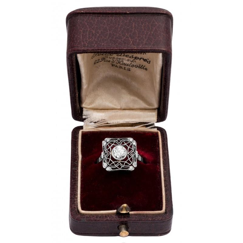 1280. Artystyczny UNIKATOWY pierścionek z filigranowymi wycinankami PLATYNA