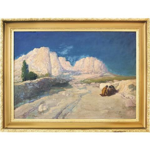 121. Iwan Trusz (1869-1941), Dwóch Arabów siedzących wśród skał