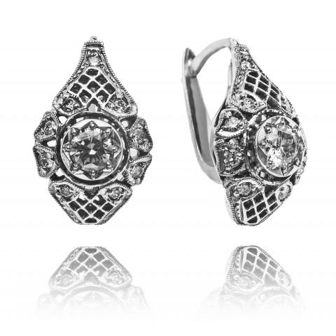 Kolczyki z diamentami w stylu Art Deco wykonane ze złota