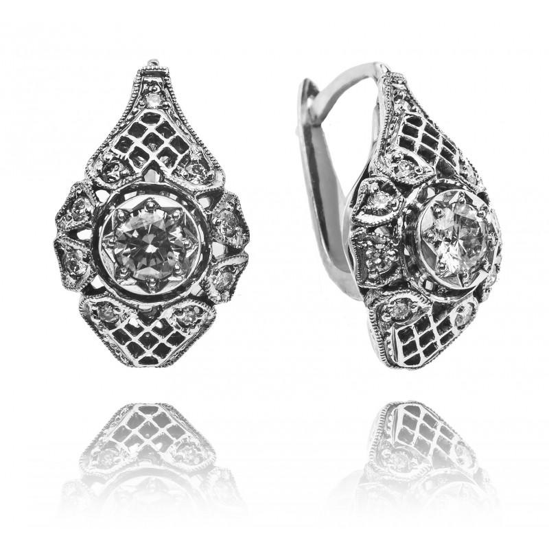 612. Kolczyki z diamentami w stylu Art Deco wykonane ze złota