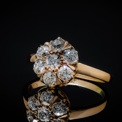 Dawny pierścionek z diamentami ~1.10ct