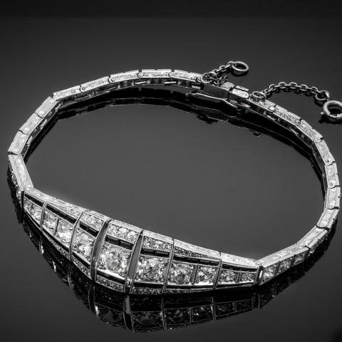 Platynowa dawna bransoletka z diamentami
