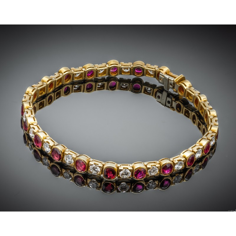 Bransoletka z diamentami i rubinami