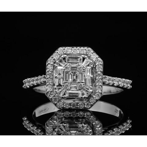 Pierścionek z diamentami wykonany ze złota 18k