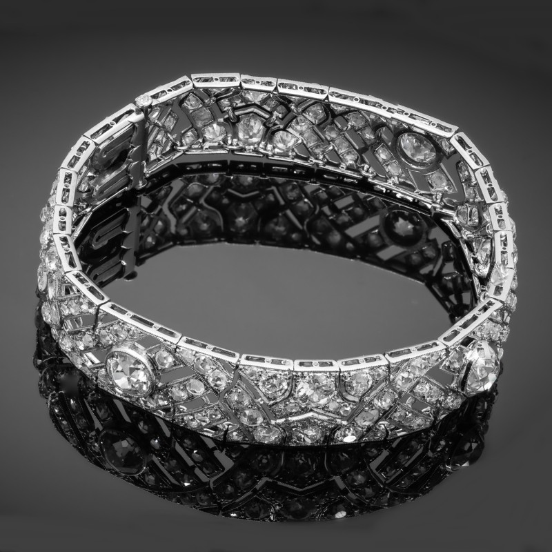 Platynowa bransoletka z diamentami ~18.30ct, Francja, 1920-30