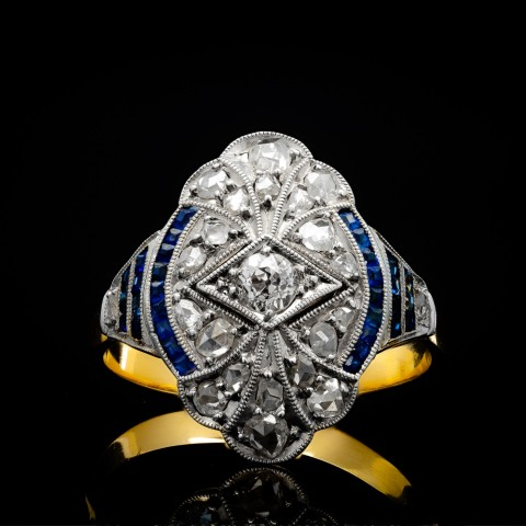 Dawny pierścionek z diamentami i szafirami