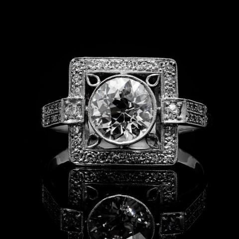 Platynowy pierścionek z brylantem ok. 1.25ct HRD Antwerp
