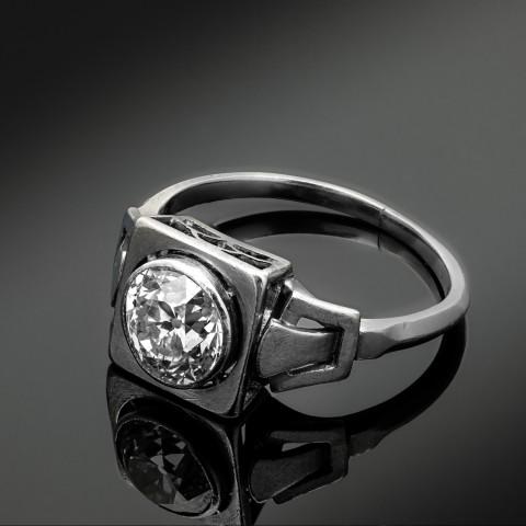 Dawny platynowy pierścionek z diamentem ok. 1.20ct
