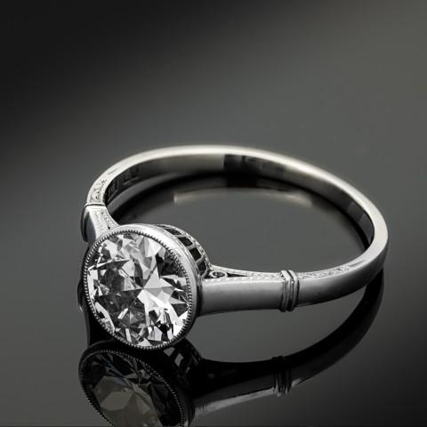 Dawny platynowy pierścionek z diamentem ok. 1.50ct, Stary Wiedeń