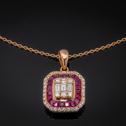 Naszyjnik z diamentami i rubinami