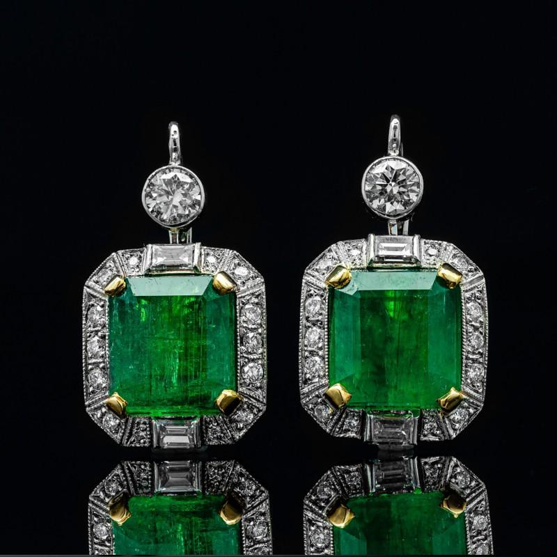 Kolczyki z szmaragdami ~16.63ct oraz diamentami