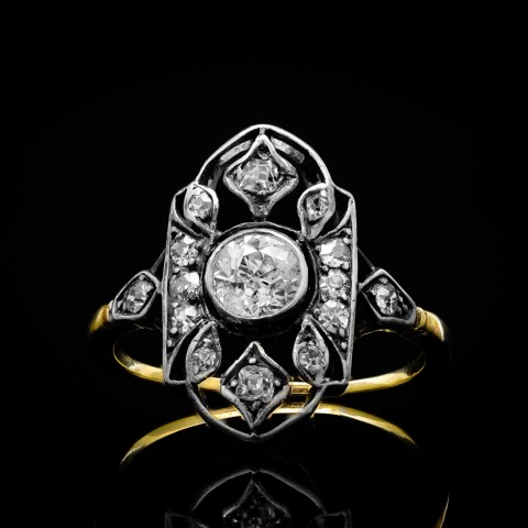 Dawny pierścionek z diamentami ok. 0.81ct