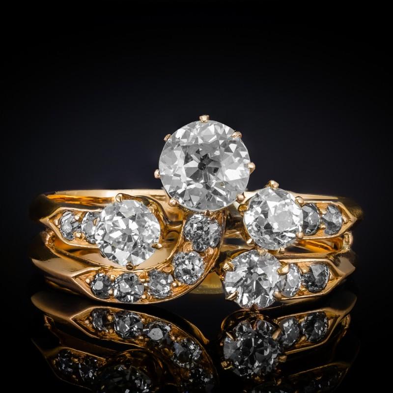 Dawny pierścionek z diamentami ok. 1.65ct