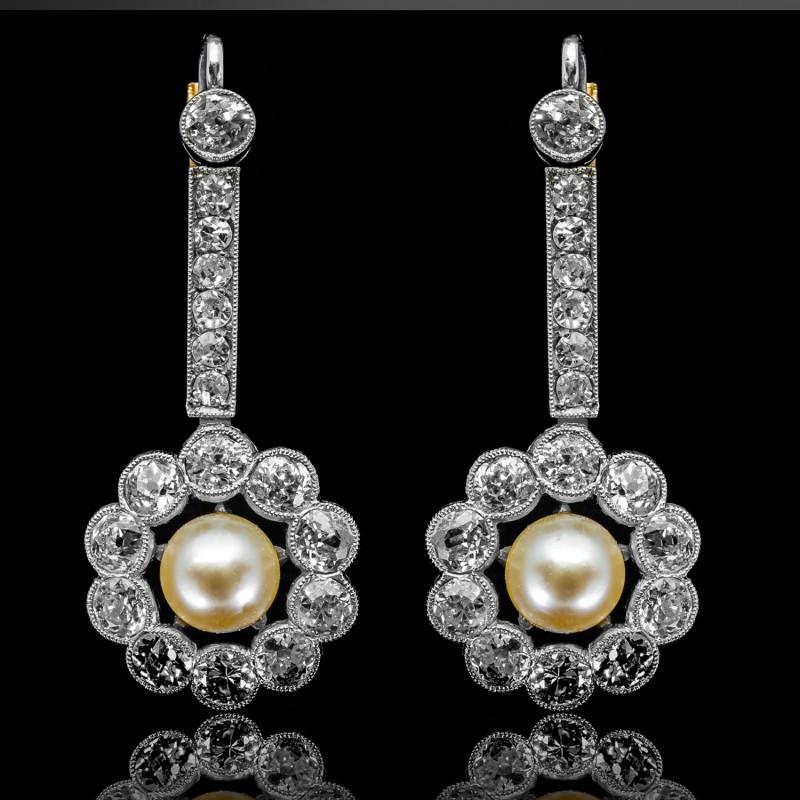 Dawne kolczyki z diamentami ok. 2.20ct i perłami
