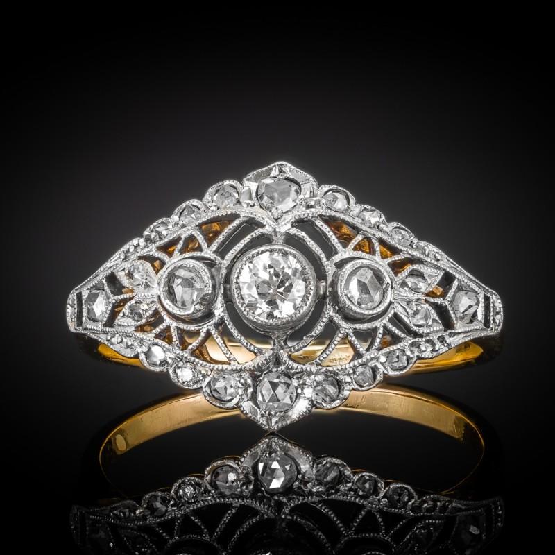 Dawny pierścionek z diamentami ~0.25ct