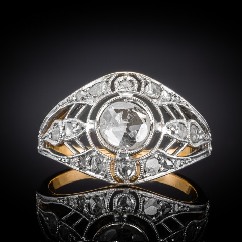 Dawny pierścionek z diamentami ~0.55ct