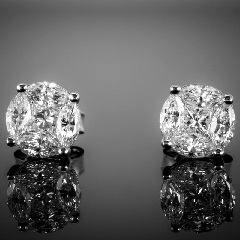 Kolczyki z diamentami o masie ok. 0.90ct