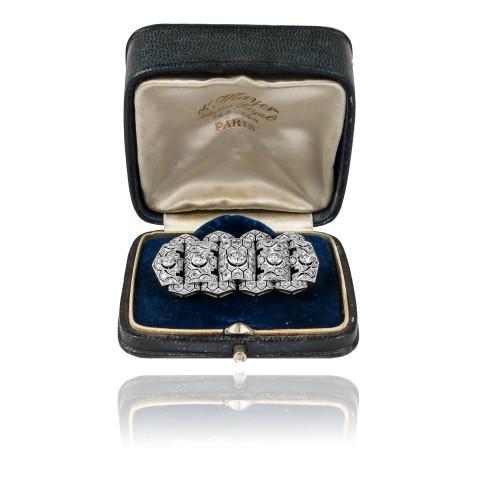 241. Broszka w stylu Art Deco z diamentami ~2,25ct wykonana ze złota
