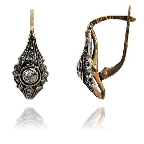 Kolczyki w stylu Art Deco z brylantami wykonane ze złota